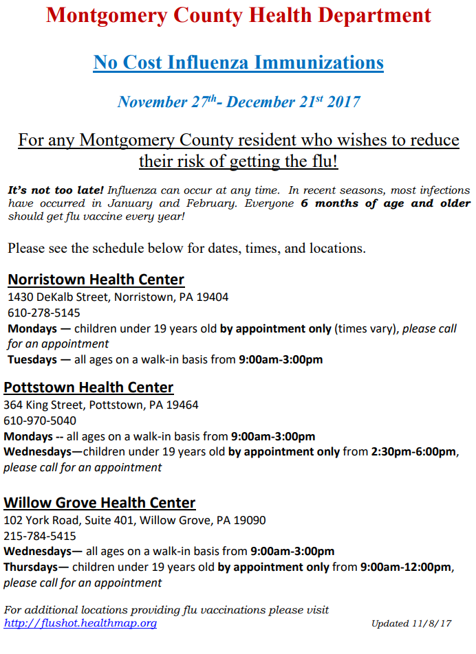 flu shot flyer